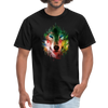 Colorful wolf t-shirt - black