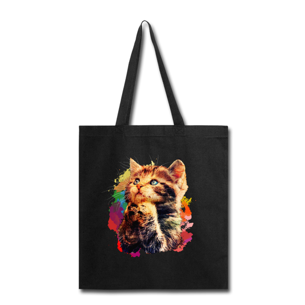 Praying Cat Tote Bag - black