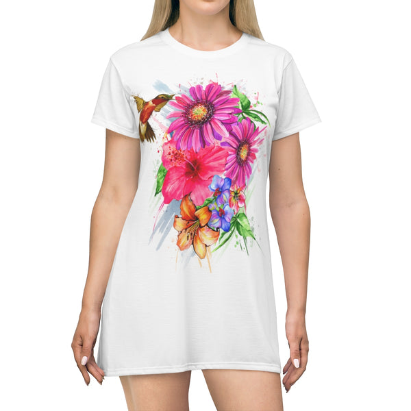 Hummingbird and flowers AOP T-shirt Dress
