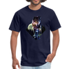 Young wolf standing T-Shirt - Animal Face T-Shirt - navy