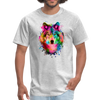 Watercolor wolf t-shirt - Animal Face T-Shirt - heather gray