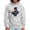 Young wolf standing hoodie - Animal Face Hoodie - ash