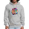 Lion with mane hoodie - Animal Face Hoodie - heather gray