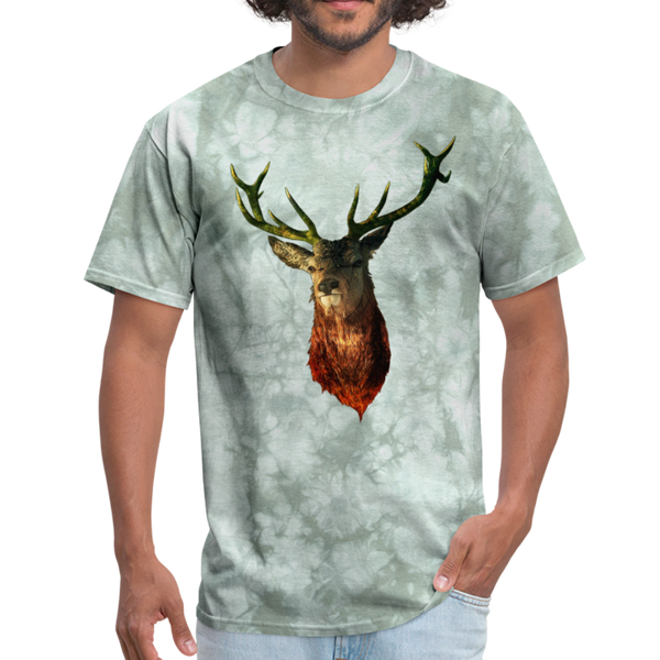Deer t-shirt - Animal Face T-Shirt - military green tie dye