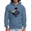 Young wolf standing hoodie - Animal Face Hoodie - denim blue
