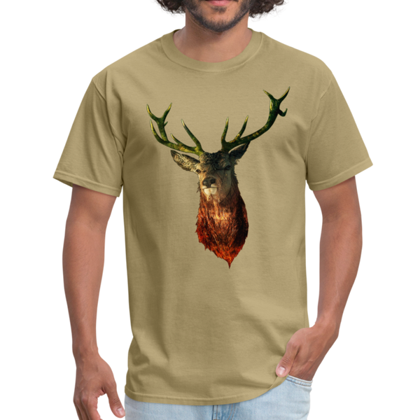 Deer t-shirt - Animal Face T-Shirt - khaki