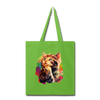 Praying Cat Tote Bag - lime green