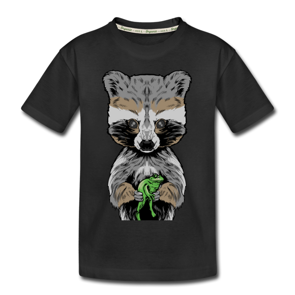 Raccoon Kid's Premium Organic T-Shirt - black
