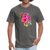 Hummingbird with flowers t-shirt - Animal Face T-Shirt - charcoal