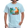 Fox with river t-shirt - Animal Face T-Shirt - powder blue