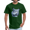 Nothern Lynx t-shirt - Animal Face T-Shirt - forest green