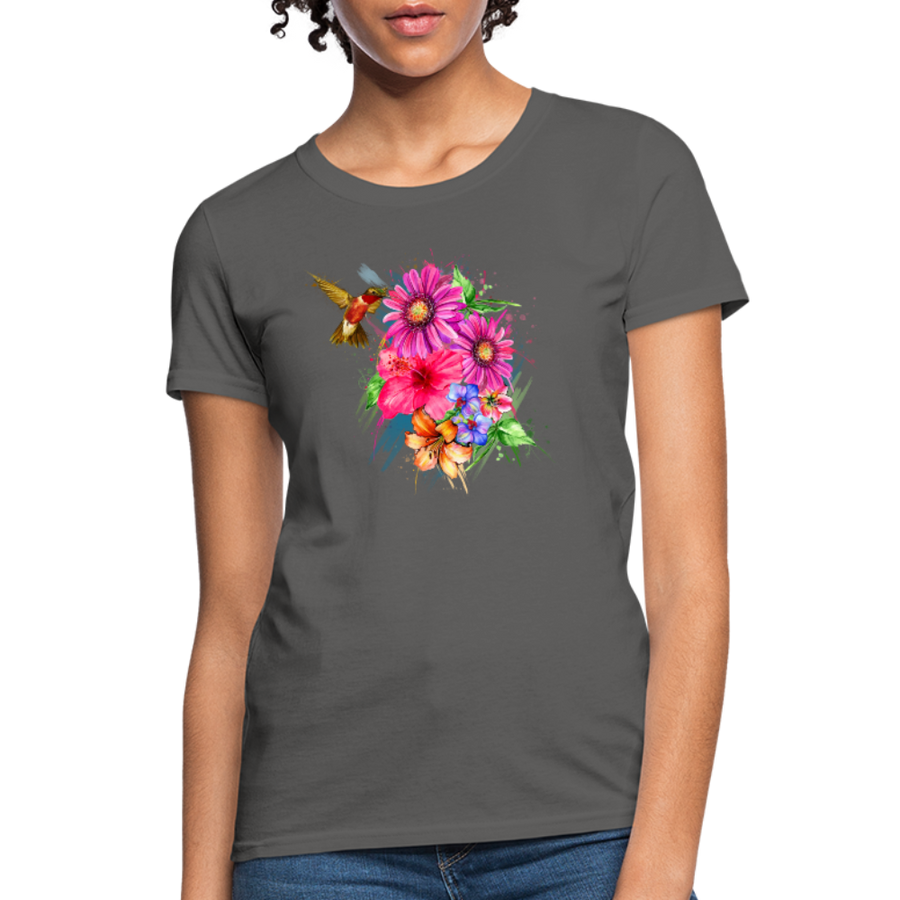 Hummingbird with flowers Women's T-Shirt - charcoal