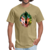 Colorful wolf t-shirt - khaki