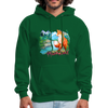 Fox with river hoodie - Animal Face Hoodie - forest green