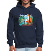 Fox with river hoodie - Animal Face Hoodie - navy
