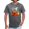 Serious Cat T-Shirt - Animal Face T-Shirt - mineral charcoal gray