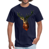 Deer t-shirt - Animal Face T-Shirt - navy
