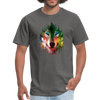Colorful wolf t-shirt - charcoal