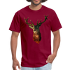 Deer t-shirt - Animal Face T-Shirt - burgundy
