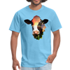Holstein cow t-shirt - Animal Face T-Shirt - aquatic blue