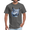 Nothern Lynx t-shirt - Animal Face T-Shirt - charcoal
