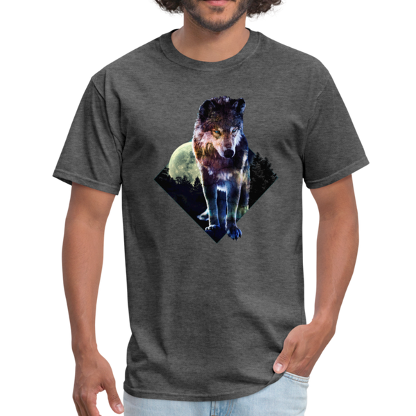 Young wolf standing T-Shirt - Animal Face T-Shirt - heather black