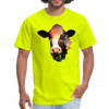 Holstein cow t-shirt - Animal Face T-Shirt - safety green