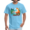 Fox with river t-shirt - Animal Face T-Shirt - aquatic blue