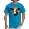 Holstein cow t-shirt - Animal Face T-Shirt - turquoise