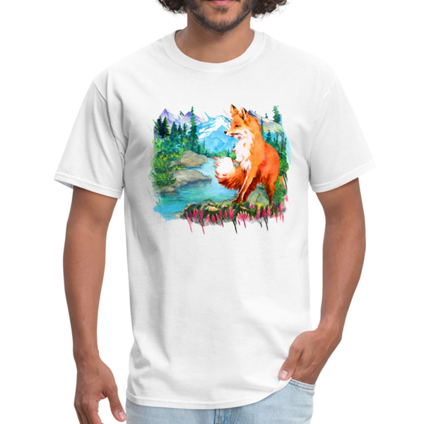 Fox with river t-shirt - Animal Face T-Shirt - white