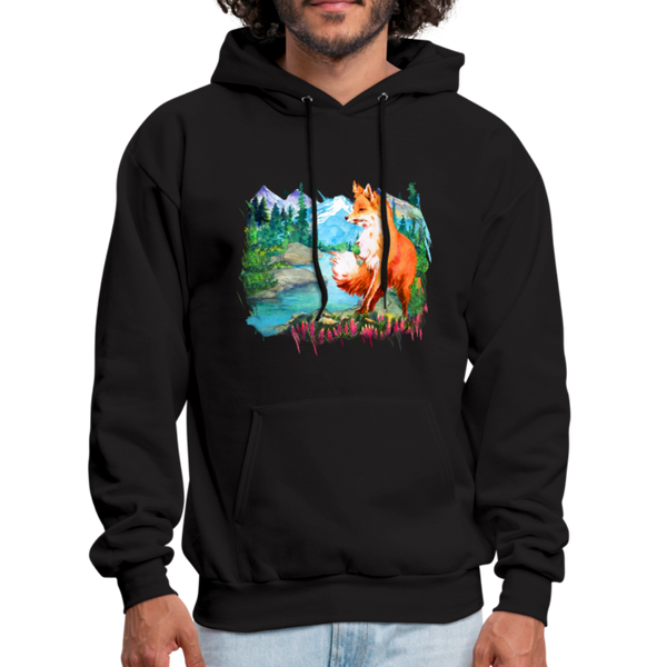 Fox with river hoodie - Animal Face Hoodie - black