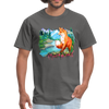 Fox with river t-shirt - Animal Face T-Shirt - charcoal