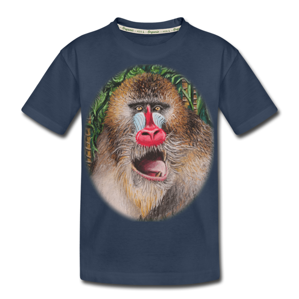 Mandrill Monkey Kid's Premium Organic T-Shirt - navy