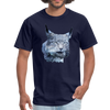 Nothern Lynx t-shirt - Animal Face T-Shirt - navy