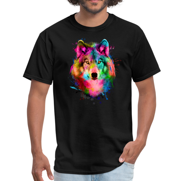 Watercolor wolf t-shirt - Animal Face T-Shirt - black