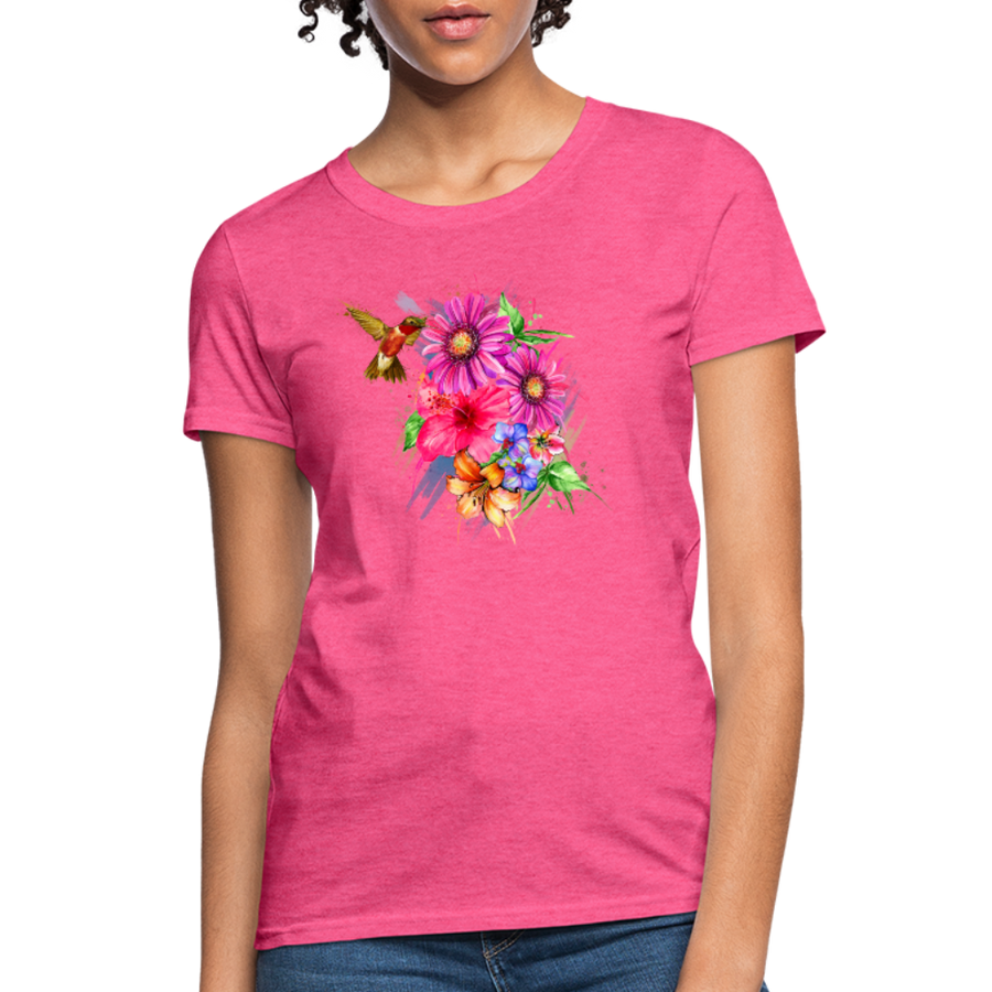Hummingbird with flowers Women's T-Shirt - heather pink