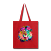 Watercolor lion tote bag - red