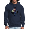 Young wolf standing hoodie - Animal Face Hoodie - navy