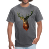 Deer t-shirt - Animal Face T-Shirt - mineral charcoal gray