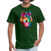 Watercolor wolf t-shirt - Animal Face T-Shirt - forest green