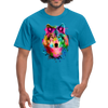 Watercolor wolf t-shirt - Animal Face T-Shirt - turquoise