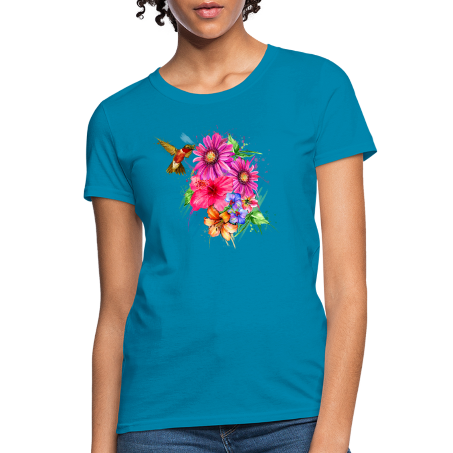 Hummingbird with flowers Women's T-Shirt - turquoise