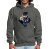 Young wolf standing hoodie - Animal Face Hoodie - charcoal gray