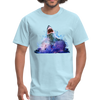 Great White Shark with surfer T-Shirt - Animal Face T-Shirt - powder blue