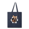 Cat with eyes Tote Bag - navy