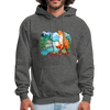 Fox with river hoodie - Animal Face Hoodie - charcoal gray