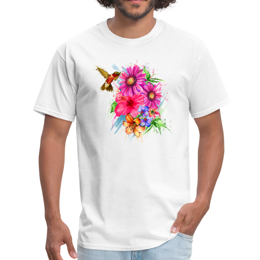 Hummingbird with flowers t-shirt - Animal Face T-Shirt - white