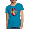 Watercolor wolf Women's T-Shirt - turquoise