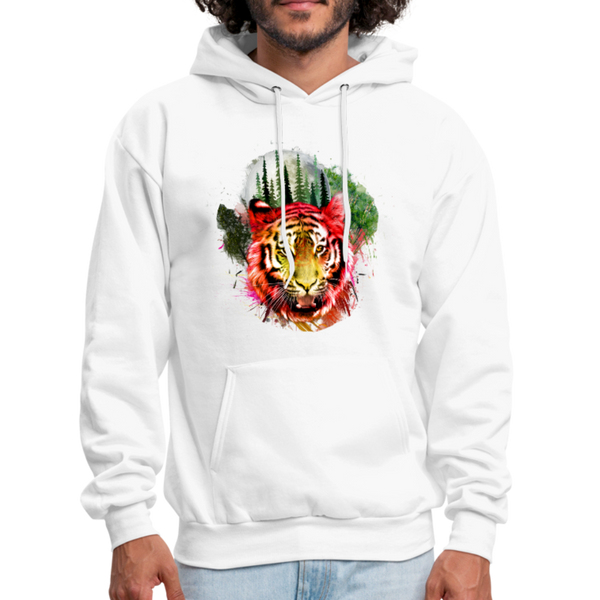 Tiger with Moon Hoodie - white