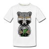 Raccoon Kid's Premium Organic T-Shirt - white
